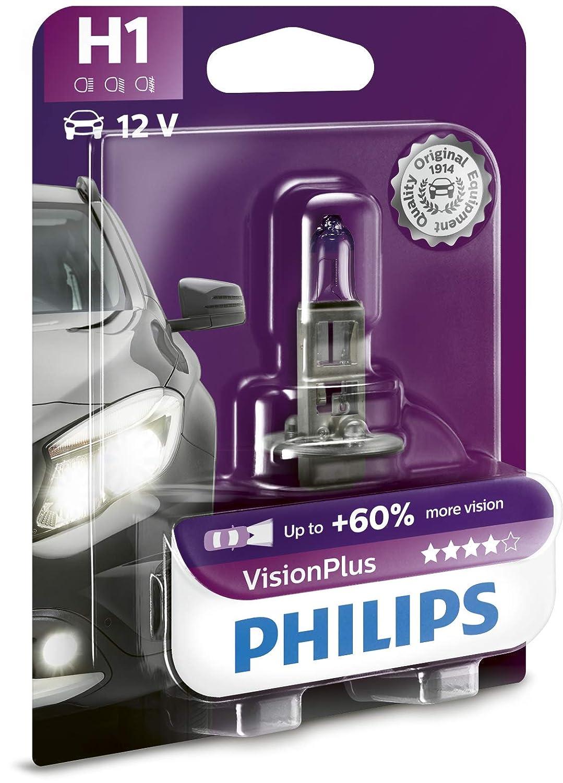 Philips 12258VPB1 VisionPlus - Bombilla H1 para faros delanteros: Amazon.es: Coche y moto