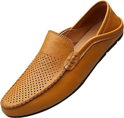 Unitysow Mocassins Homme Été Loafers Cuir Mode Respirant Chaussures de Conduite Plat Flâneurs Chaussures Décontractées Slip on Grande Taille