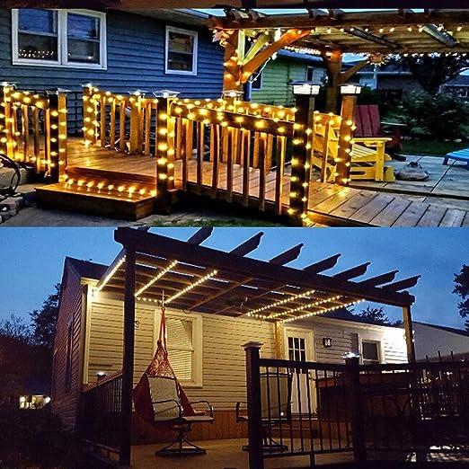 Guirnalda Luces Exterior Solares,Mobiut Cadena de Luz Solar 27 M/88ft 250 LED Luz Solar de Exterior Resistente Al Agua Luces de Hadas Estrelladas para Navidad, Fiestas, Patio,Jardines-Blanco cálido: Amazon.es: Iluminación