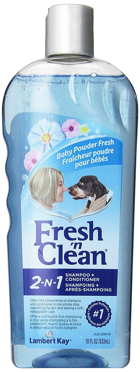 Fresh'n Clean Pet 2-in-1 Baby Powder Formula Conditioning Shampoo, 18-Ounce (4 Pack)