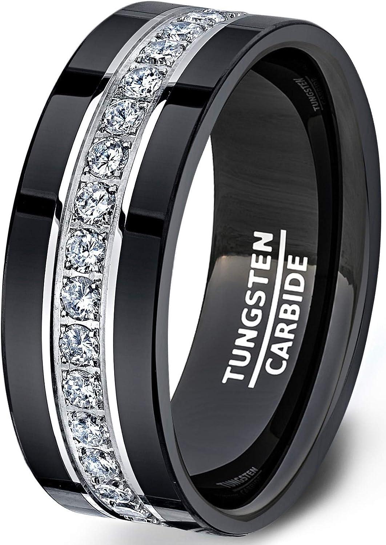 Black Diamond Ring Black Tungsten Ring Mens Wedding Band Black Ring 8mm Engagement Ring For Man Wedding Band Mens Black Diamond Wedding Band