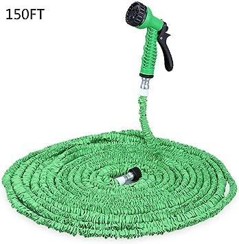 Manguera 150 ft Magic ampliable Jardín Manguera de agua flexible manguera verde con 7 modos Spray pistola para riego: Amazon.es: Bricolaje y herramientas