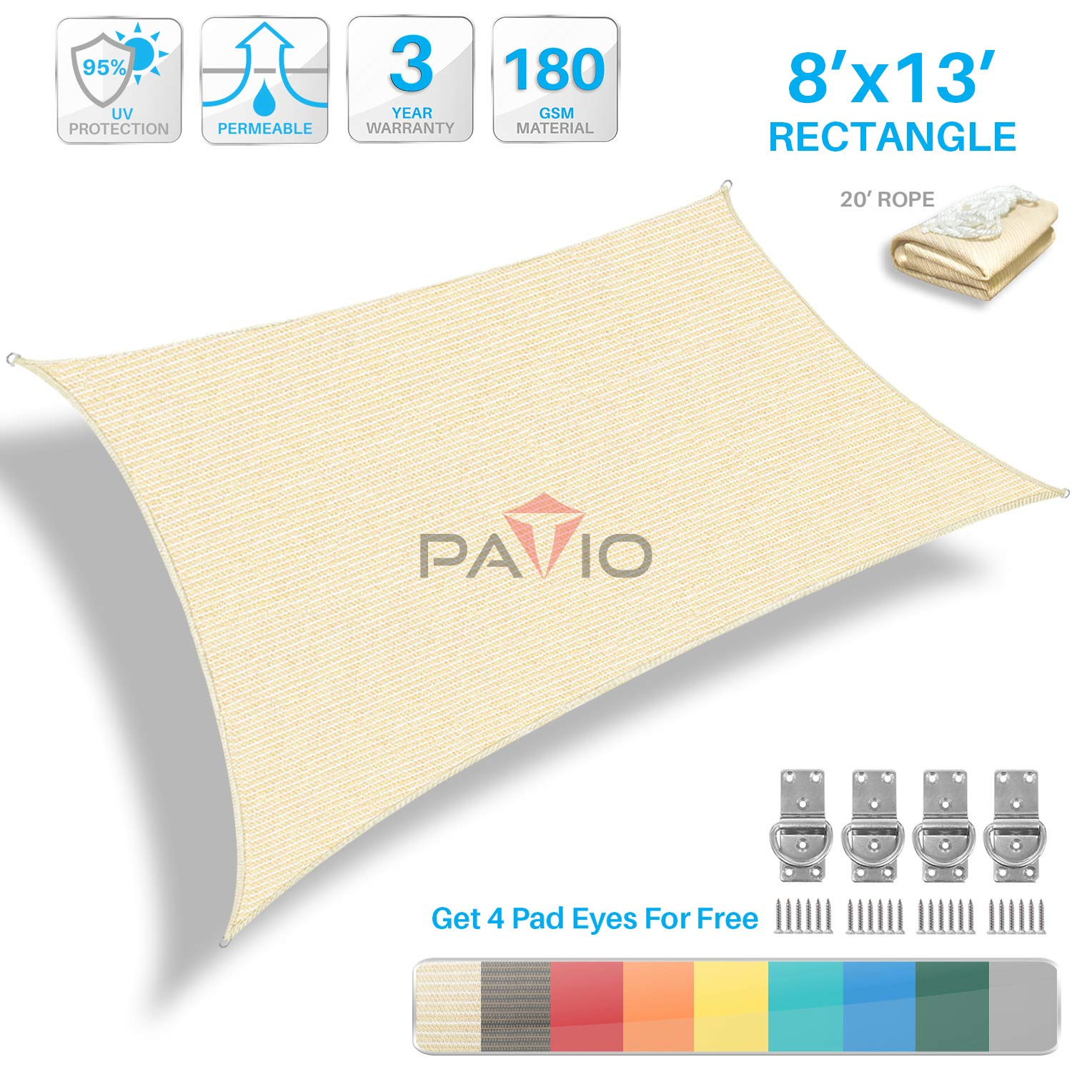 Patio Paradise 8' x 13' Tan Beige Sun Shade Sail Rectangle Canopy - Permeable UV Block Fabric Durable Outdoor - Customized Available