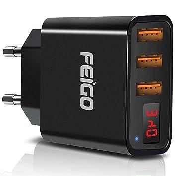 FEIGO Adaptador Enchufe Universal Cargador Móvil Enchufe Adaptador Internacional con 3 Puertos USB 5V/2.4A para iPhone/iPad/Samsung ...
