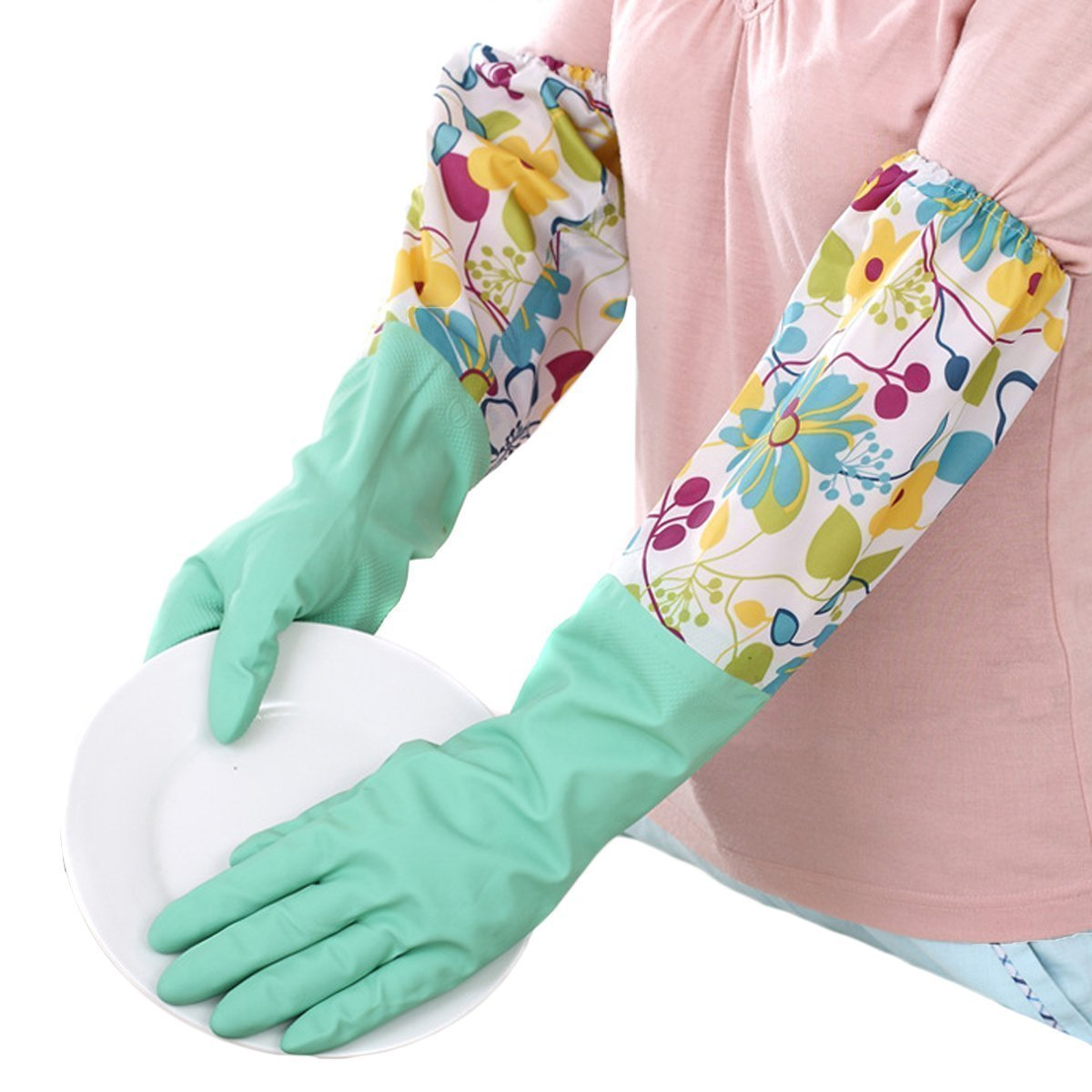 VASANA 1 Paar Wiederverwendbare Lange Gummi-Reinigungshandschuhe mit weichem warmen Futter Küche Haushalt Winter Warm Wasserdicht Anti-Rutsch-Handschuhe