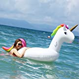 RESTAR Pool Floats Inflatable Unicorn Float, Outdoor Vacation Beach Loungers Lake Ride-on River Raft Rainbow Water Raft for Adults and Children Pool Float Seat Boat Pool Toys Summer Beach Party