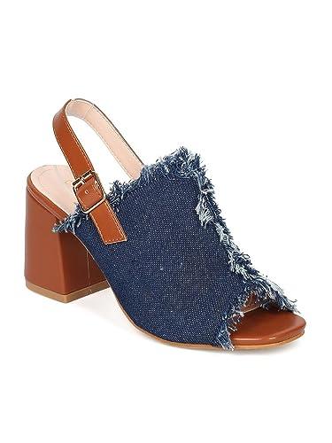 3a4c7546511 Thentic CIARA-20 Women Denim Peep Toe Frayed Chunky Heel Mule HB94