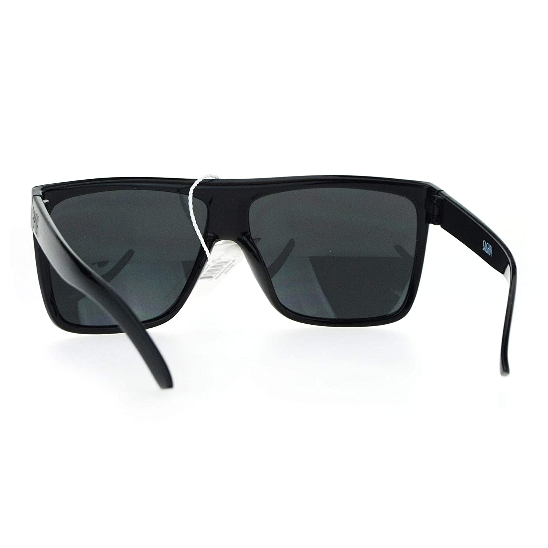 a96ae76ce916 Amazon.com: SA106 Limo All Black Flat Top Oversize Gangster Shade Sunglasses  Shinny Black: Clothing