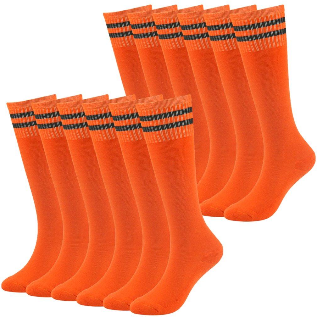 Baseball Socks Girls Socks Novelty Fancy Design Striped Soccer Rugby Tube Socks Fasoar 12 Pairs Orange by Fasoar