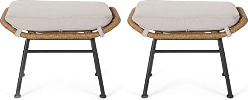 Great Deal Furniture Gloria Outdoor Modern Boho Wicker Ottoman Set of 2