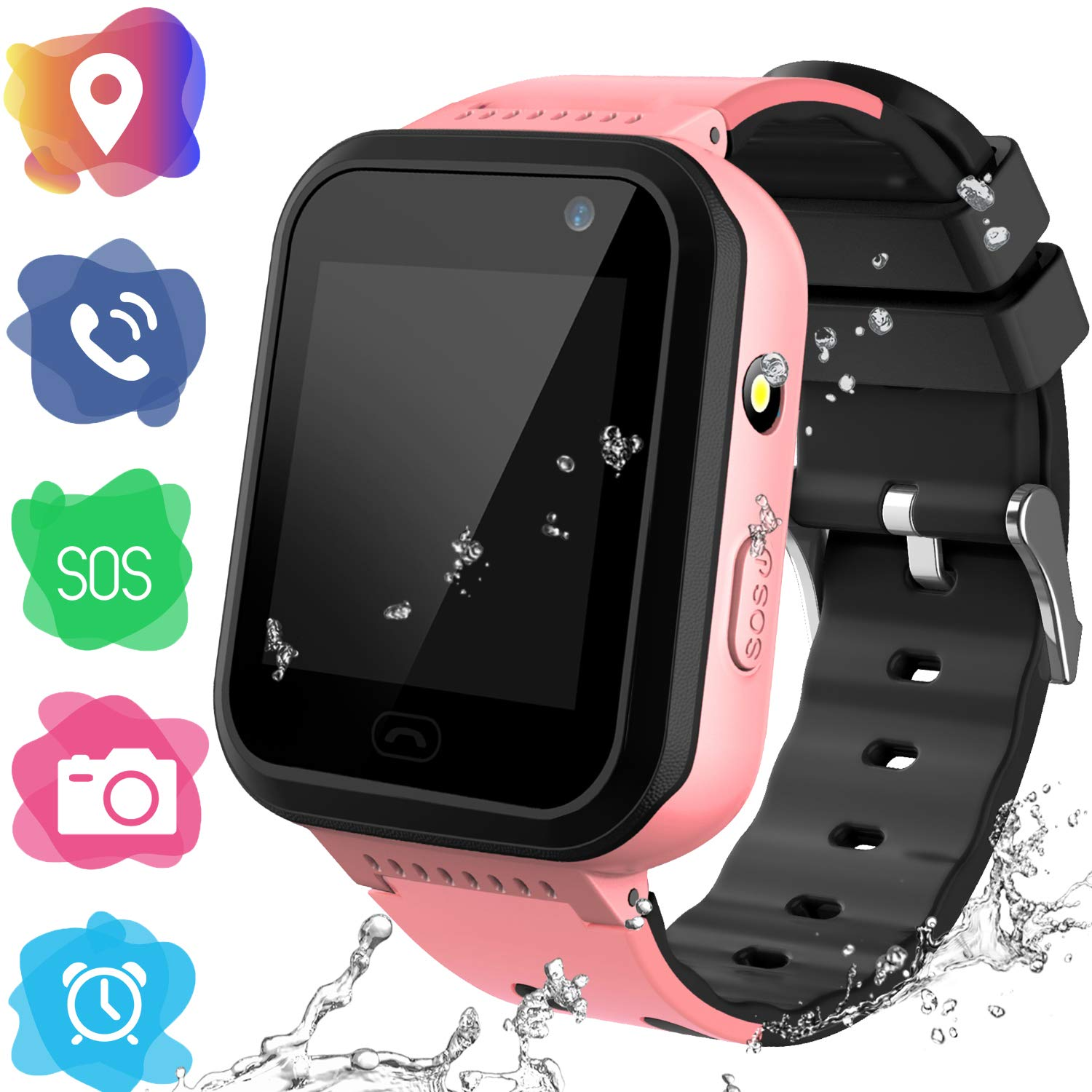 Kids Smartwatch Phone for Girls Boys - Children Touch Phone Wrist Watch with SOS Call Voice Intercom Camera Flashlight Voice Maths Game for Students Age 4-12 (01 V7 Pink, LBS Tracker Watch) by YENISEY
