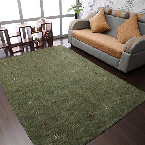 Rugsotic Carpets Hand Knotted Gabbeh Wool 8'x10' Area Rug Contemporary Green L00104 - the best living room rug for the money