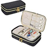 Teamoy Double Layer Jewelry Organizer, Quilted Jewelry Travel Case for Rings, Necklaces, Earrings, Bracelets and More, Black-