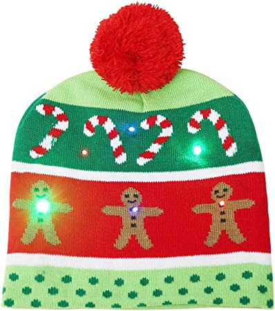 2 Pack LED Light Up Hat Beanie Knit Cap,with 6 Colorful Lights LED Xmas Christmas Hat Beanie Unisex Winter Snow Hat Sweater Ugly Holiday Hat Party Beanie Cap