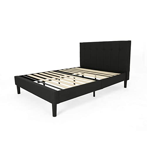 Christopher Knight Home 307557 Yvonne Fully-Upholstered Queen-Size Platform Bed Frame, Modern, Contemporary, Low-Profile, Black