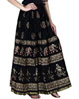 Rangsthali Gold printed Cotton long Skirt for women ( free Size)