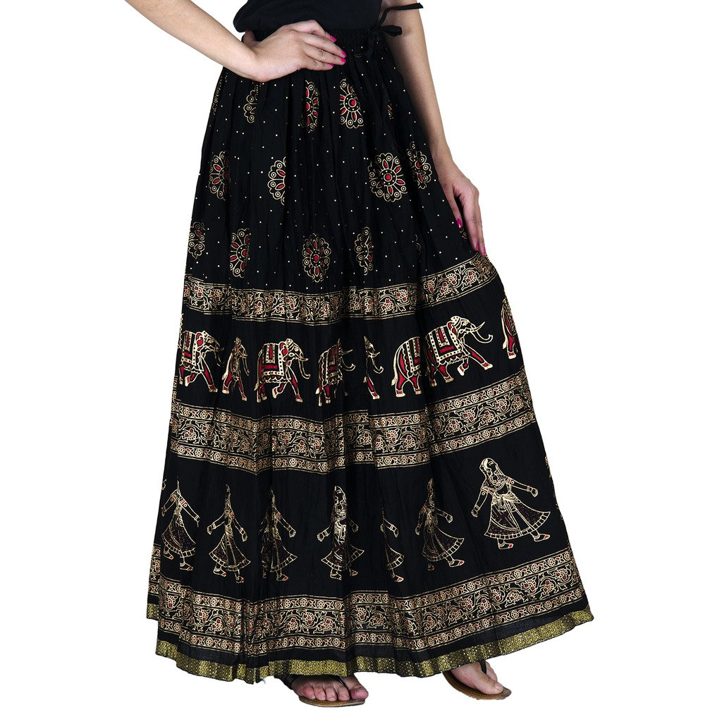 Rangsthali Gold Printed Cotton Long Skirt for Women (Free Size)