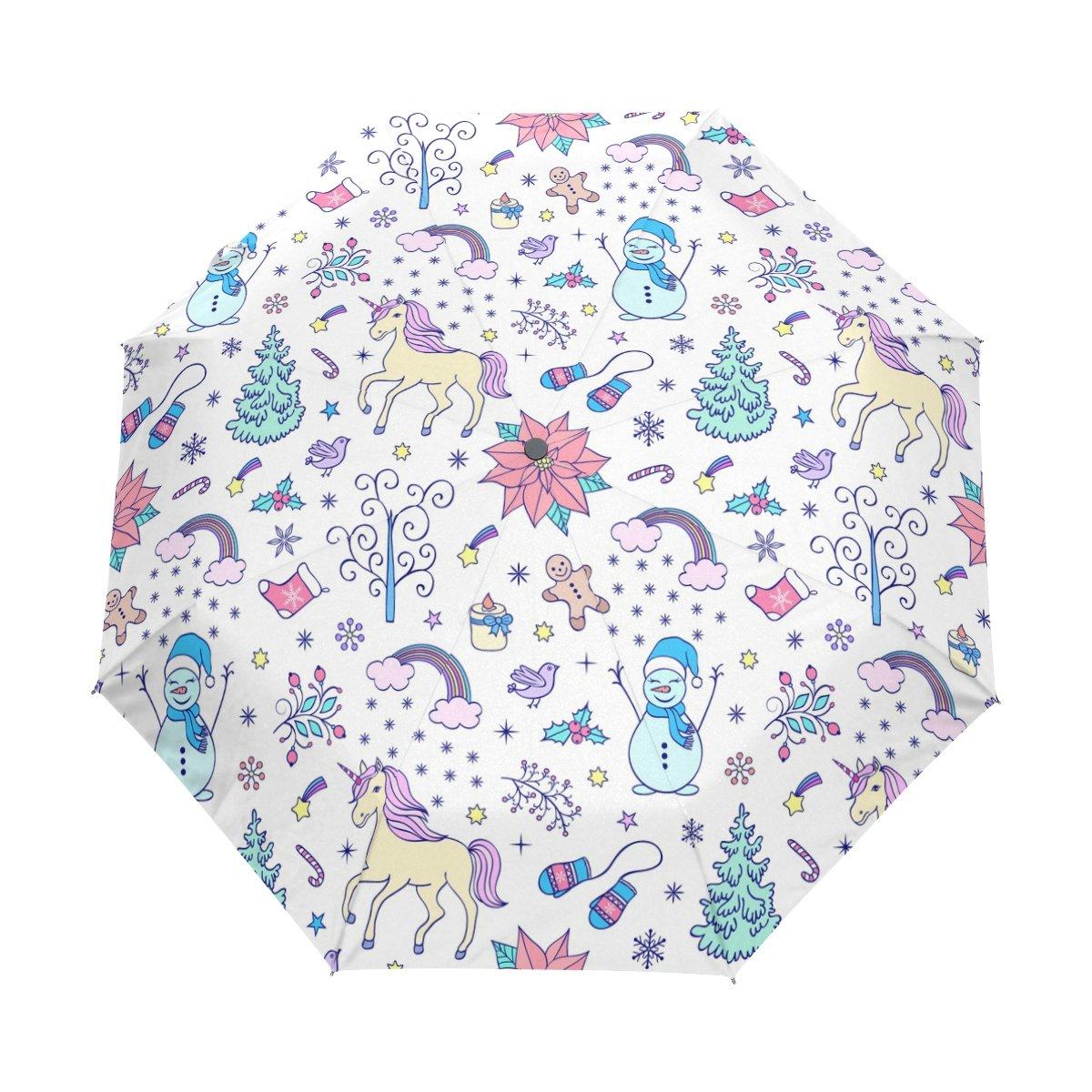 Senya Saobao防風と防雨トラベル傘自動開いて閉じFoldingクリスマスシームレスなパターンポータブル折りたたみ式太陽雨傘 B07FCY7MD5