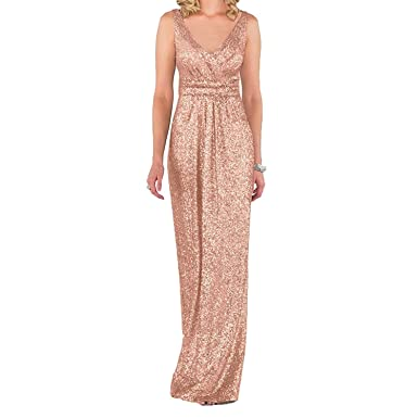 JASY Sequined V-Neck Sheath Bridesmaid Dresses Backless Long Rose Gold Prom Dresses for Women