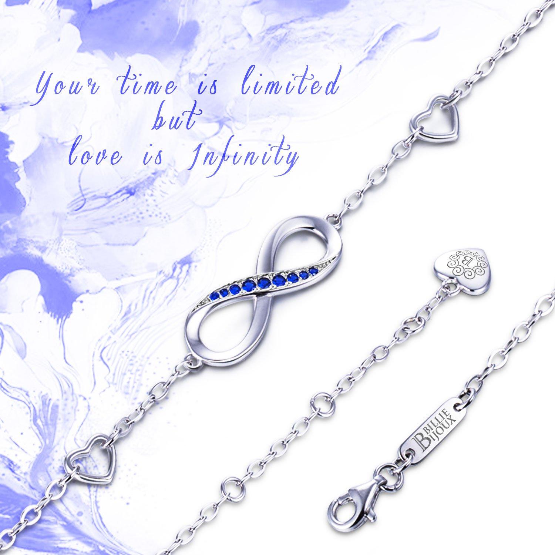 Billie Bijoux Womens 925 Sterling Silver Infinity Endless Love Symbol Charm Adjustable Bracelet Gift for Mother's Day (Blue) by Billie Bijoux (Image #3)