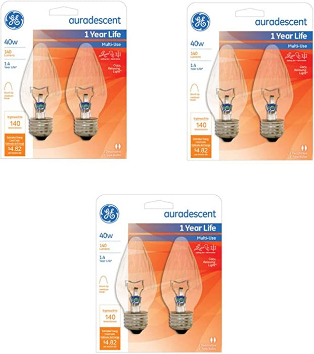 G E Lighting 75343 Flame Shape Auradescent Bulb, 40W, 6-Pack
