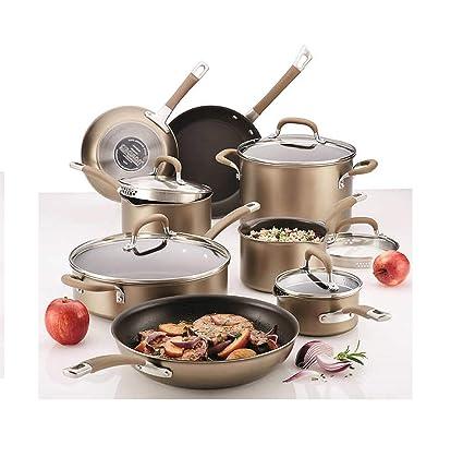 Circulon Conjunto de batería de cocina profesional, anodizado y duro. 13 piezas