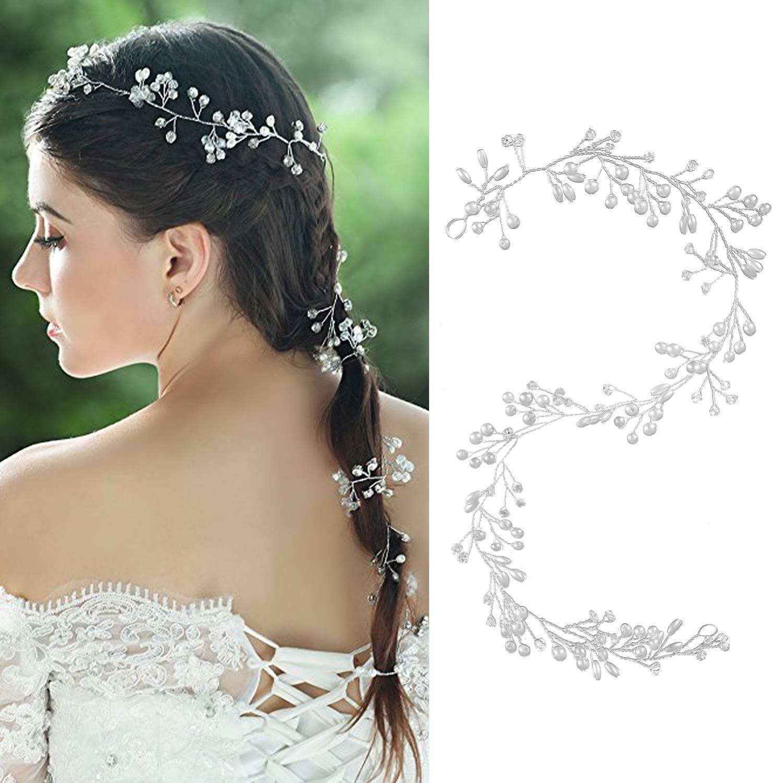 Czemo 50CM Bijoux Cheveux Perles Couronne Fleur Cristal Serre Tête Guirlande Bandeau Headband pour Demoiselle d'Honneur Accessoire Mariage
