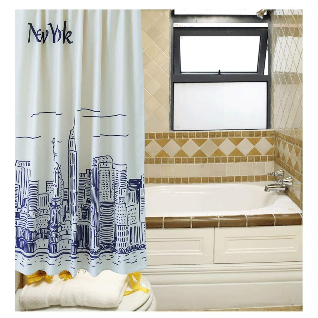 Yongyong Simple Hand-Painted Black and White City Shower Curtain European and American Sanitary Partition Curtain Waterproof Ventilated Shower Curtain Set to Send Hang Buckle by Yongyong (Image #2)