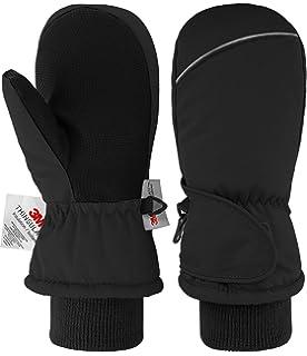 Essentials boys Water-Resistant Snow Ski Mittens Cold Weather Gloves