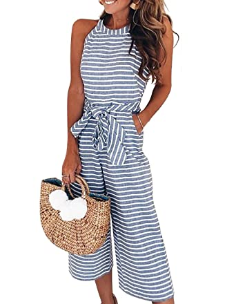 7281a23db3f Sanifer Women s Sexy Sleevelesss Halter Striped Wide Leg Jumpsuits Cute  Rompers (Small