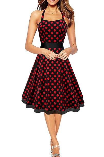 BlackButterfly Rhya Vestido De Lunares Vintage Años 50 (Negro - Lunares Rojos,