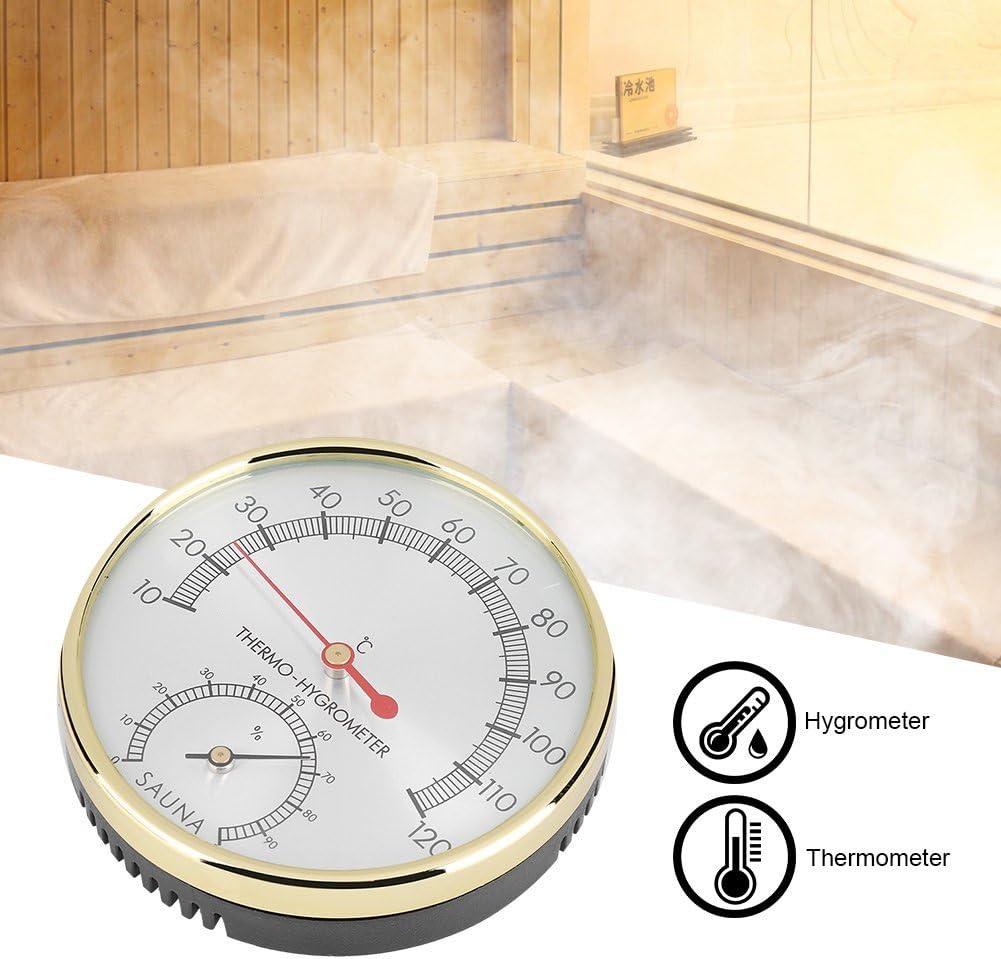 FTVOGUE Cadran En M/étal Thermom/ètre Int/érieur Hygrom/ètre Hygro-Thermom/ètre Pour Sauna Accessoire De Simplicit/é Moderne