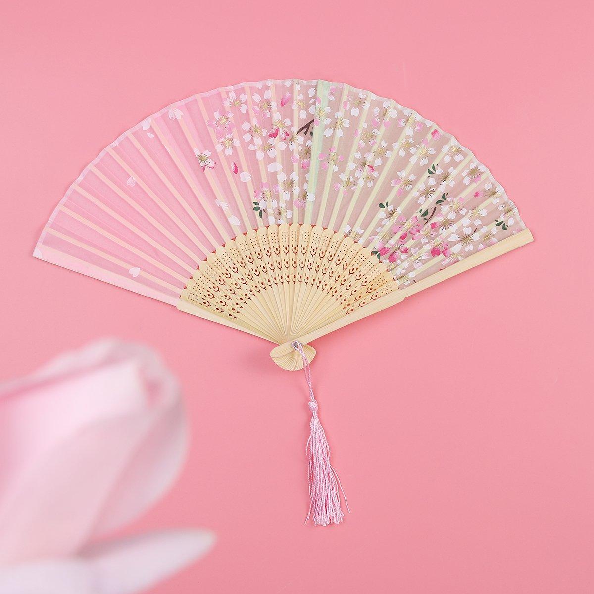 Amazon.com: Tinksky Pack of Japanese Cherry Blossom Folding Fan Silk ...