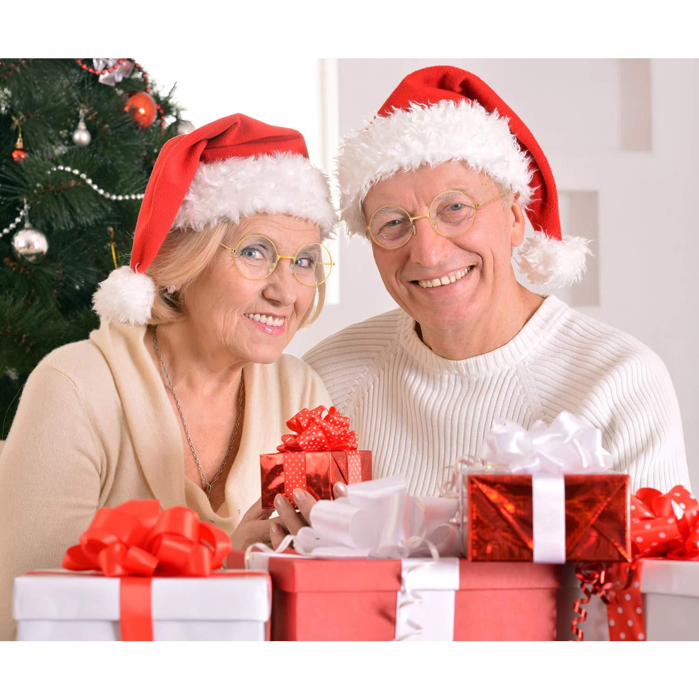 Frienda 3 Pares de Gafas de Disfraz de Viejo Gafas de Pap/á Noel Gafas Redondas Doradas Gafas de Lentes Transparentes para Hombres Mujeres Navidad Accesorios de Disfraz