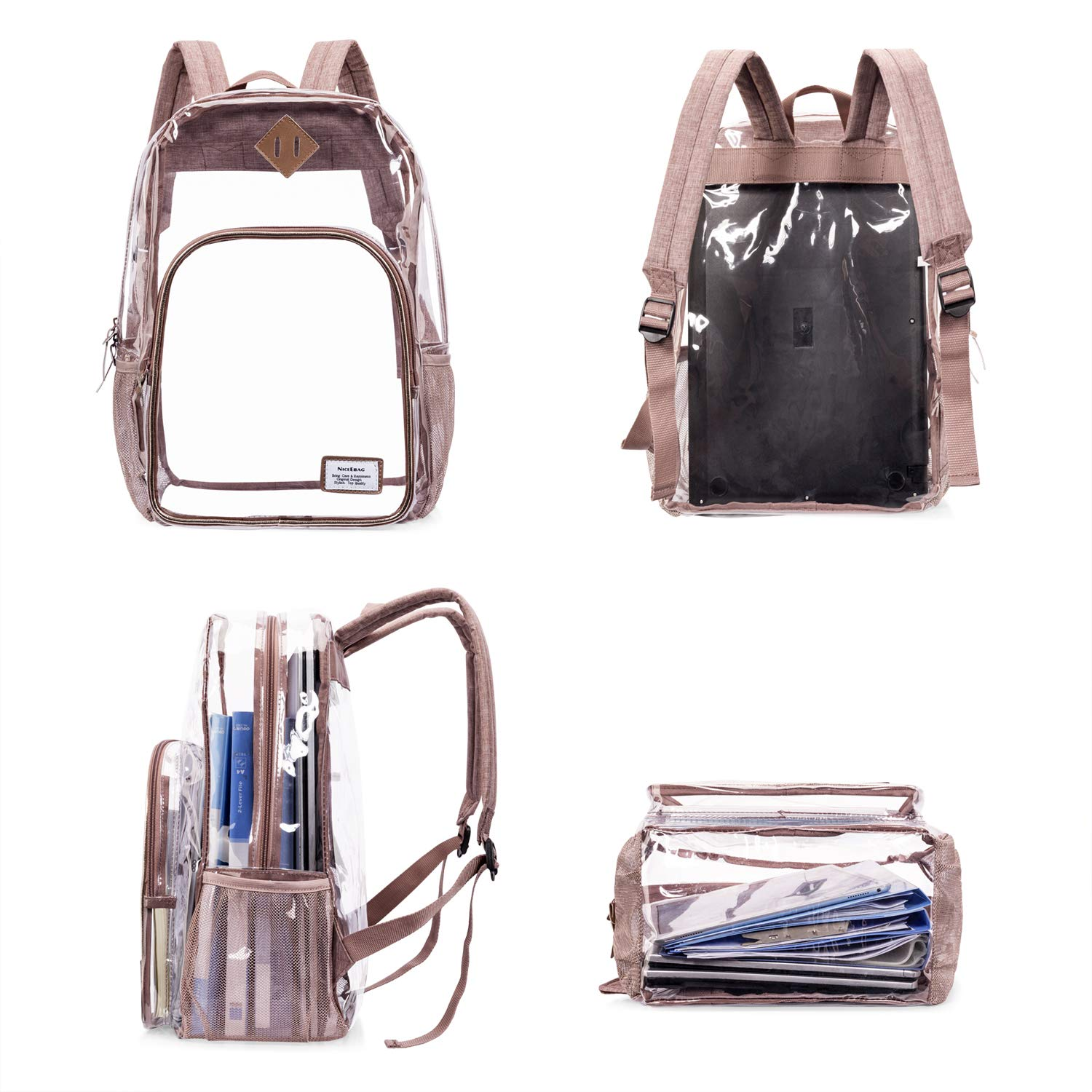 35e95818e925 NiceEbag Clear School Backpack Heavy Duty Clear Bookbag Large See Through  Backpack for Teen Girls Boys Kids Student Women and Men Stadium Approved ...