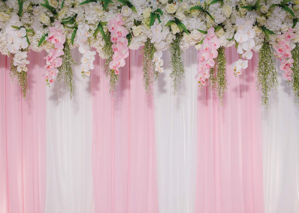 Ltlyh 7x5 Ft Wedding Photo Backdrops Pink Curtains Backdrop Wedding Party Backgrounds For Photography Studio Flower Backdrop A 011
