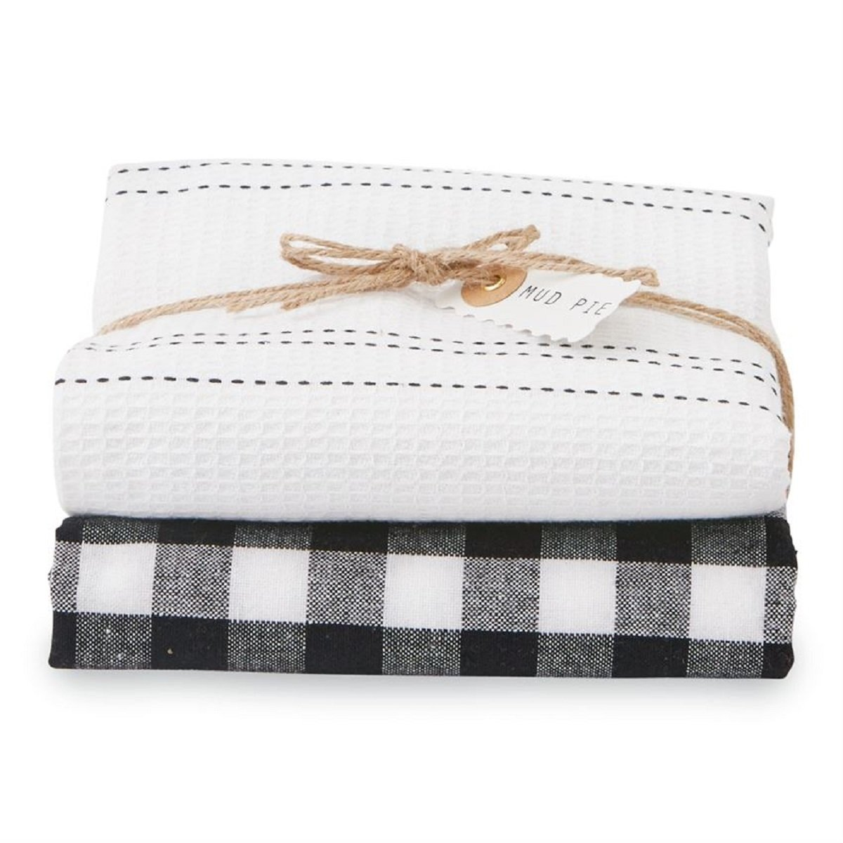 Mud Pie Linen Dish Towel Set (Black)