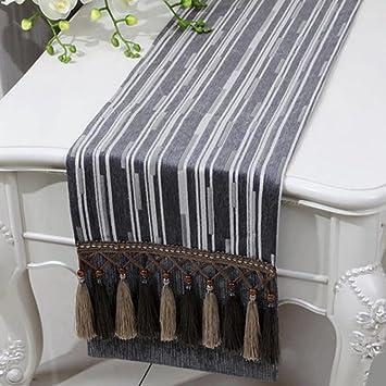 KKY ENTER Tischläufer Einfache Moderne Silberne Graue Flache Winkelstreifen  Baumwolle Und Leinen Tischdecke (nur