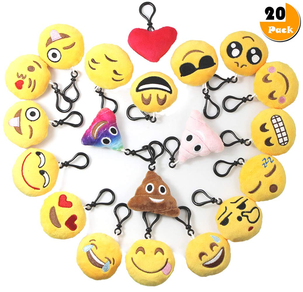 Emoji Keychain Plush Mini Pillow Kids Decoration, Birthday Party Supplies Favor for Girl and Boy, 20 Pack Emoji-Pop Key Chain Pendant, Emoticon Cushion Goody Bag Stuffed Toy, Backpack Clip& Wall Decor by Youwith Joy