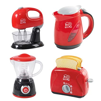 PlayGo Kitchen Chef Collection (My Toaster, Juice Maker, Kettle & Mixer)  for Your Little Chef | Pretend Play Home Kitchen Appliances 4Piece Play Set  ...
