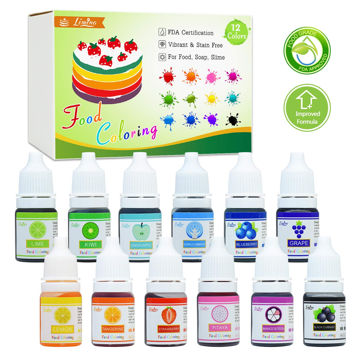 Food Coloring - 12 Color Bright Rainbow Cake Food Coloring Set for Baking,  Decorating, Icing and Cooking -...