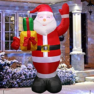 5ft Christmas Inflatable Santa Claus with Gift Bag, Indoor Outdoor Christmas Decoration with Lights, Yard Lawn Garden Xmas Party Prop Decor, Cute Fun Xmas Holiday Decor with Tethers, Stakes, Sandbags