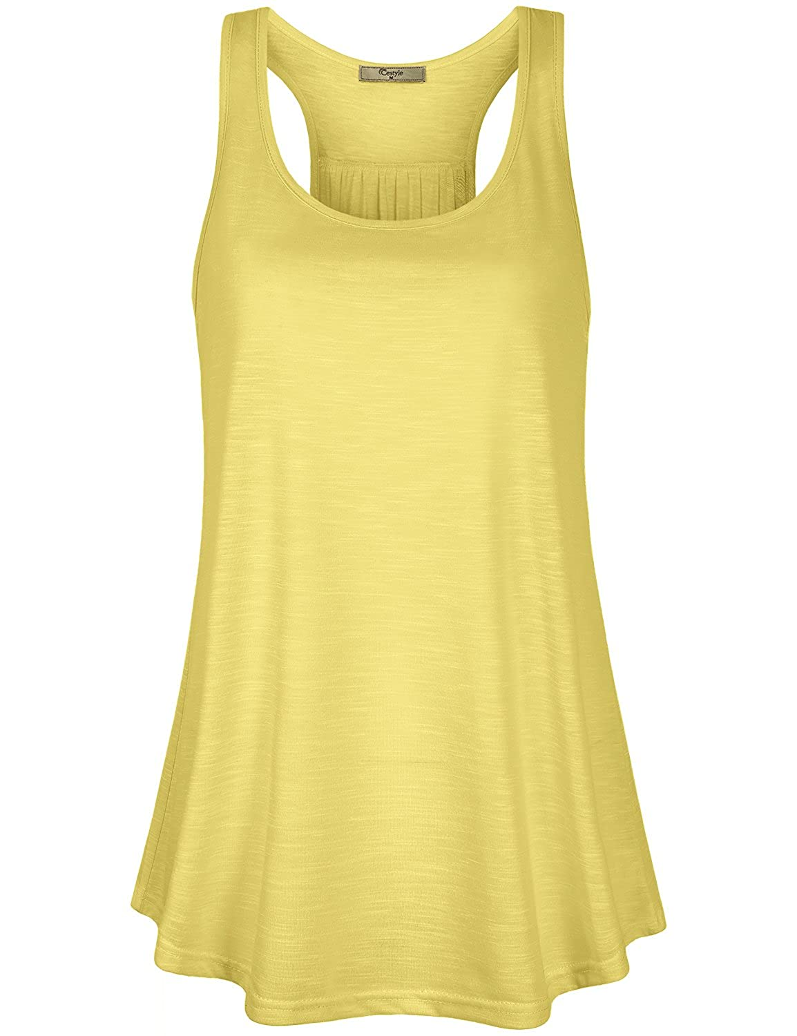 Cestyle Womens Sleeveless Scoop Neck Flowy Loose Fit Racerback Tank Top