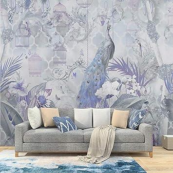 MILUSEN Papel pintado de flores y pájaros de pavo real Jaula de ...