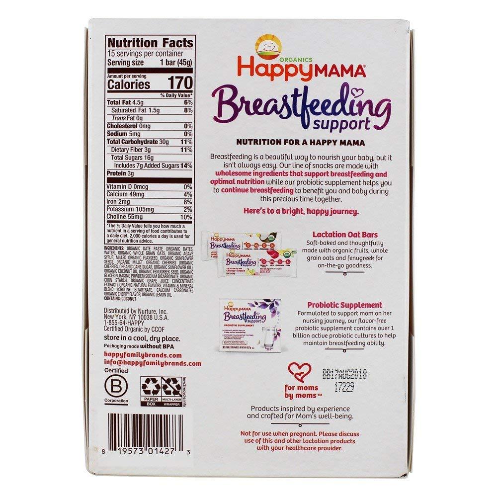 Happy Family - Happy Mama Organic Breastfeeding Support Lactation Oat Bar Cherry + Lemon - 15 Bars by Happy Family (Image #2)