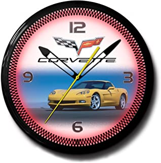 """product image for Corvette C6 Yellow Genuine Vette Emblem Neon Wall Clock 20"""" Made In USA, 110V Electric, Aluminum Spun Case, Powder Coated Finish, Glass Face, Brass Movement, Pull Chain, 1 Year Warranty"""