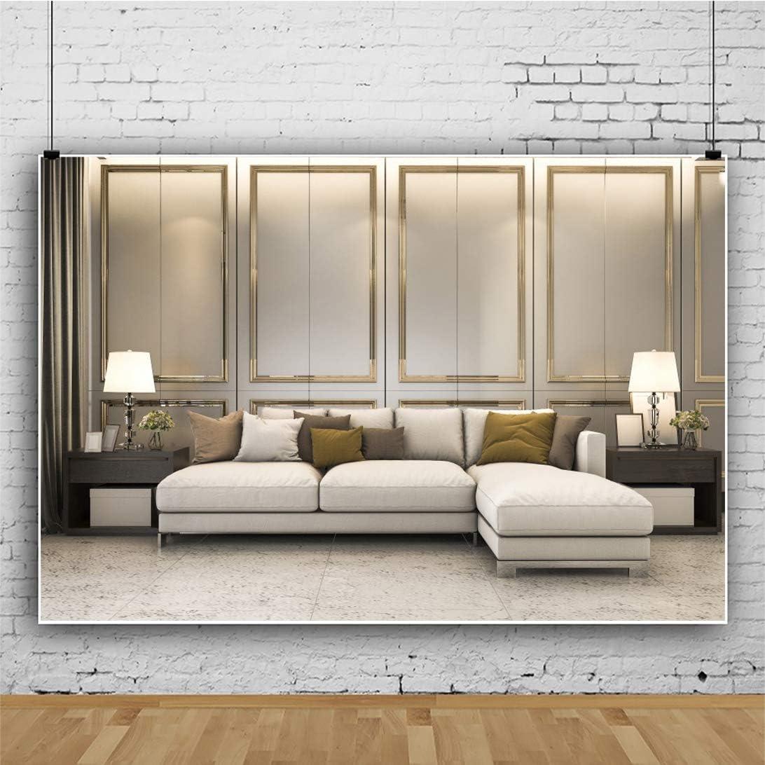 YEELE Classic Room Interior Backdrop 12x8ft Nice Soft Sofa Luxury Golden Decor Photography Background Luxury House Interior Design Church Decoration Kids Adults Portrait Photo Studio Props Wallpaper