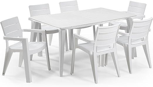 Keter - Set de mobiliario de jardín Lima/Ibiza (mesa + 6 sillas), color blanco: Amazon.es: Jardín