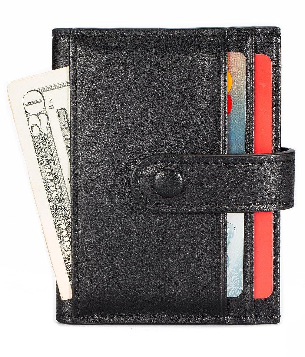 Black Leather Credit Card Holder 16 Slots Bifold Front Pocket Wallet RFID Blocking