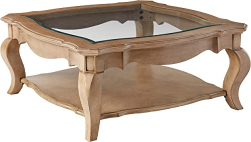 Acme Chelmsford Coffee Table, Antique Taupe Clear Glass